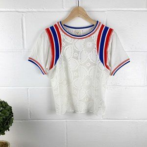 FREE PEOPLE WE THE FREE White Lace Top Size Small
